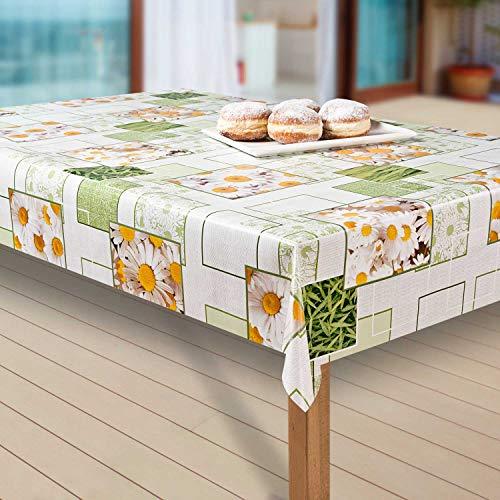 laro Wachstuch-Tischdecke Abwaschbar Garten-Tischdecke Wachstischdecke PVC Plastik-Tischdecken Eckig Meterware Wasserabweisend Abwischbar AQ, Größe:100-140 cm, Muster:Kamille, Blumen, gelb/weiß