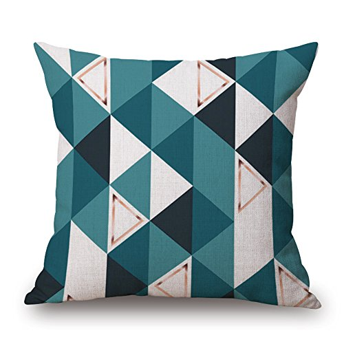 Happy Cool en coton et lin Europe du Nord Bureau simples Couvre-lit décoratif Taie d'oreiller Housse de coussin 45,7 x 45,7 cm, Triangles World, Cover + Brushed Insert