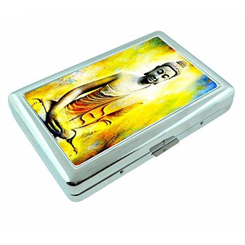 Retro Buddha Religious Statue S6 Metal Silver Cigarette Case Wallet Id Holder 4' X 2.75'