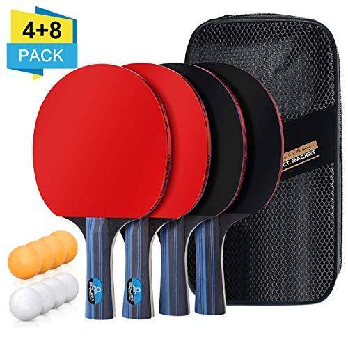 BHGWR Set da Ping Pong, Set di Racchette da Ping Pong con 4 Racchetta e 8 Palline, Racchetta con Pallina Kit Ping Pong in Gomma a Doppia Faccia in Borsa per Indoor Outdoor Tavolo da Ping Pong Gioco