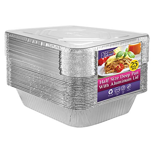 Aluminum Pans Half Size Disposable Pans with Aluminum Lids | For All Types of Prepping Food | 25 Sets