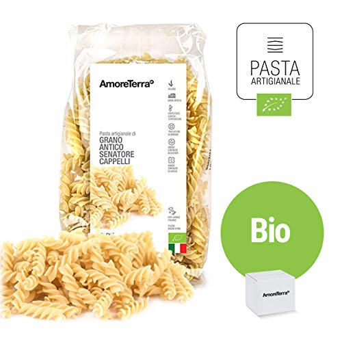 Amoreterra, Pasta Senatore Cappelli Bio Eliche 500g, Grani antichi, artigianale biologica, trafila al bronzo, essiccata bassa temperatura