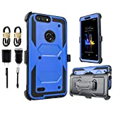 for ZTE Blade X Max, ZTE ZMax Pro, ZTE Carry Z981 [Built in Screen] Full-Body Rugged Armor [Brushed Metal Texture] Shockproof Case w/Holster Belt Swivel Clip Kickstand [Value Bundle] (Blue)