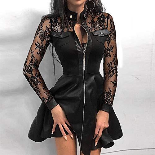 WDLZB Kleid Damen,Hohe Taille Vintage Leder Kleid Sexy Spitze Mesh Sleeve Patchwork Party Kleid Elegante Stand Hals Reißverschluss Mini Kleid Mode Chic Lose Lässigrock, Spitze, S