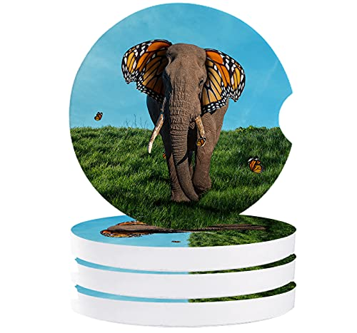 Car Coasters for Drink Art Elephant with Butterfly Ears in the Grass Absorbent Ceramic Cup Holder Coaster Set of 4 Fit Most Cars Auto Accessories for Vehicle Natural Landscape