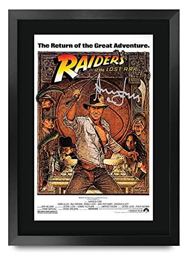 HWC Trading Indiana Jones Raiders of The Lost Ark A3 Enmarcado Regalo De Visualización De Fotos De Impresión De Imagen Impresa Autógrafo Firmado por Harrison Ford Los Aficionados Al Cine