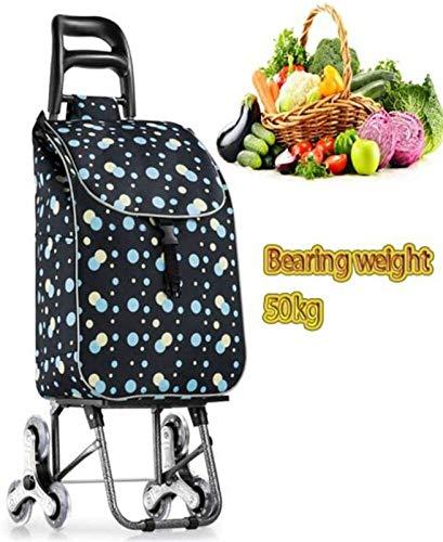 XGJ Carrito de Compras Plegable Portátil Utility Lightweight Stair Stair Cartule, con Ruedas giratorias enrollables y removible Bolsa extraíble a Prueba de Agua Carrito de supermercado 50 kg