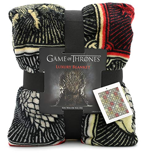 Game of Thrones Gifts Merchandise GOT Decke Super Soft Bettüberwurf Stark Lannister Targaryen Greyjoy Baratheon Tyrell Great House Symbols Westeros