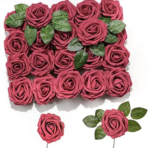 PartyWoo Künstliche Rosen, 20 Stück Kunstblumen, Künstliche Blumen, Deko Blumen, Schaumrosen, Kunstblumen Deko, Kunstblume für Geburtstagsdeko, Hochzeitsdeko, Party Deko (Weinrot)