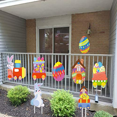 Alimtois 8 Pack Easter Yard Decorations Outdoor, 6.93-14.96 inch Tall Colorful Weather-Resistant Letter Signs with Stakes for Backyard Celebration Party Easter Yard Sign Bunny/Egg/Bird