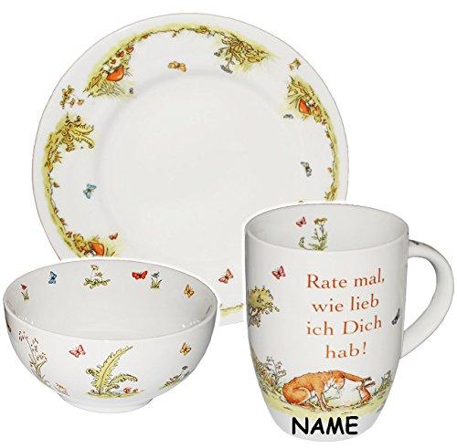alles-meine.de GmbH 3 TLG. Geschirrset - incl. Name -  Weisst du eigentlich wie lieb ich Dich hab - Rate mal wie lieb ich Dich hab !  - Porzellan / Keramik - Trinkbecher + Tell..