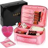 Häbe - Neceser de maquillaje de viaje grande con espejo extraíble, diseño vegano portátil neceser para mujer, organizador profesional con divisores ajustables, maquillaje gratis rosa rosa L