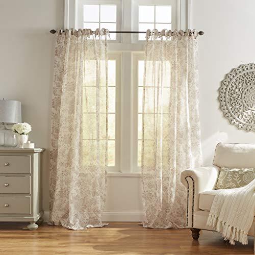 "Elrene Home Fashions Westport Floral Tie-Top Sheer Window Curtain Panel, 52"" x 84"" (1), Flax"