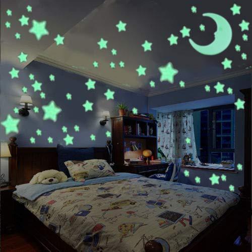 100 gloed en 1 maan in de donkere ster plastic Stickers kinderen plafond muur slaapkamer