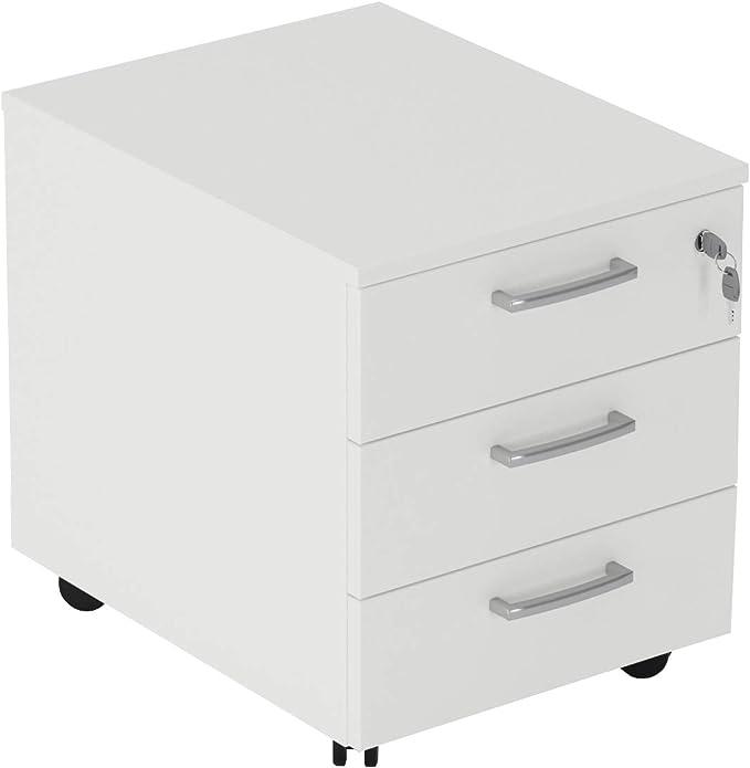 62 opinioni per Cassettiera da Ufficio con Rotelle e Tre Cassetti- Montaggio Facile (Bianco, L