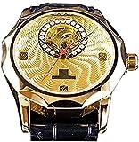 QHG Moda Diamante Pantalla Medio Esqueleto Diseño único Dial Oro Menú Mecánico Reloj Top Marca de Lujo Neutral (Color : Gold)