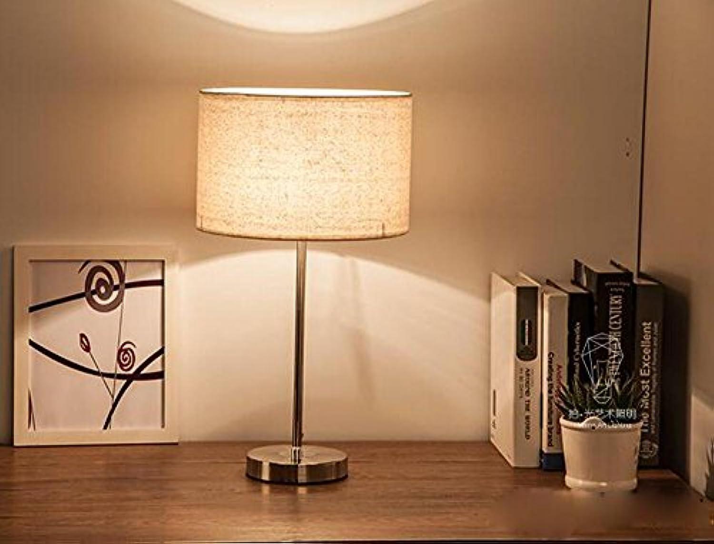 OOFWY LED E27 Table Lamp minimalistisch für Schlafzimmer Wohnzimmer Dekoration Beleuchtung Stoff Schmiedeeisen Pull Linie Dimmer Schreibtisch Nachttischlampe, A
