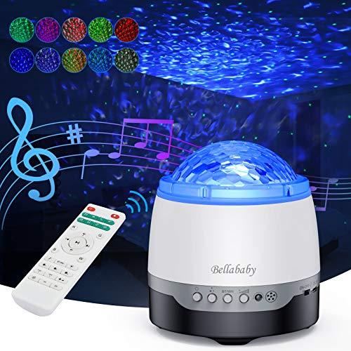 スタープロジェクターライト ベッドサイドランプ 投影ランプ プラネタリウム リモコン式 10種点灯モード タイマー機能付き 輝度 音量調整可能 音声制御 Bluetooth対応 雰囲気作り クリスマス ハロウイン パーティー飾り プレゼント ギフト