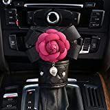 eing Crystal Shift Gear Cover with Beautiful Camellia Flower Auto Knob Gear Stick Protector Car Decor Accessories,Rose Red Flower