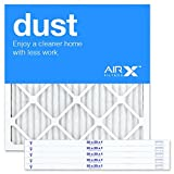 AIRx DUST 20x20x1 MERV 8 Pleated Air Filter - Made in the USA - Box of 6