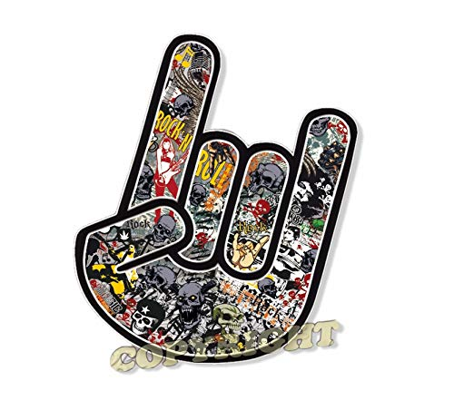 topdesignshop Rock Hand Aufkleber Stickerbomb Totenkopf Design Cooler Rocker Musik Auto Sticker Skateboard Pommesgabel Heavy Metal wetterfest