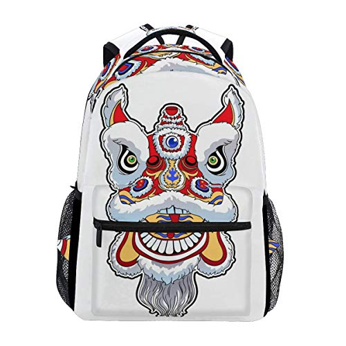 Daypack Chinese Lion Dance Stylish Bookbag Travel Backpack Printed Gift Lightweight School Casual Shoulder Bag Durable Student College Unique