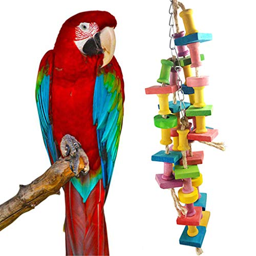 SEVENHOPE Bunte 3 hängende große mittlere und Kleine Papagei Biss Kauen Spielzeug Pet Bird Supplies