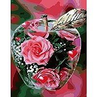 数字で描く アクリル絵の具キット 大人向けキッズビギナー、キャンバス、ドローイングペイントワーク(16x20Inch)(フレームなし)-バラの花