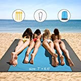 Beach Blanket Sandproof, 79''×83'' Waterproof Beach Mat for 5-6 Adults, Quick Drying Picnic Blankets with 4 Stakes and 4 Corner Pockets, Outdoor Blanket for Travel, Camping, Hiking, Packable w/Bag