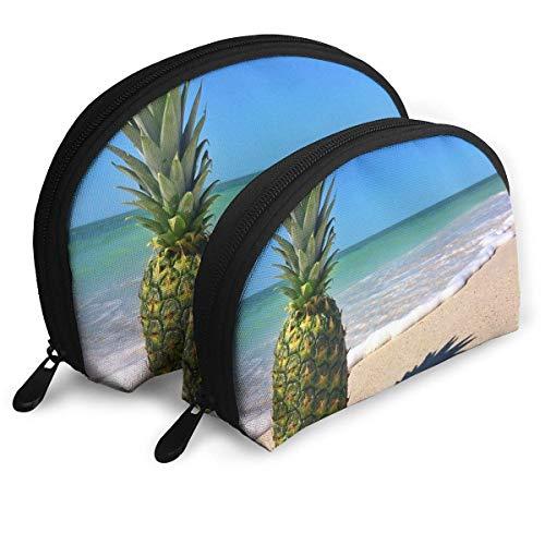 Trousse À Maquillage Sunshine Waves Ananas Portable Shell Organisateur De Toilette pour Les Femmes Parti 2 Pack