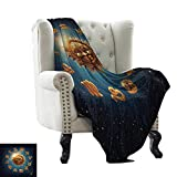 BelleAckerman - Manta para Madre con astrología, diseño Abstracto de horóscopo con Signos de Acuario Lion Taurus Libra, Azul Marino, Blanco y Azul Cielo, Manta fácil de Transportar