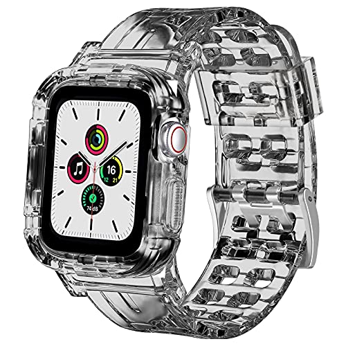 QULI Pulsera compatible con Apple Watch 42 mm, 38 mm, 44 mm, 40 mm, banda de cristal con carcasa de parachoques, compatible con iWatch Serie SE/6/5/4/3/2 (negro, 38 mm/40 mm)