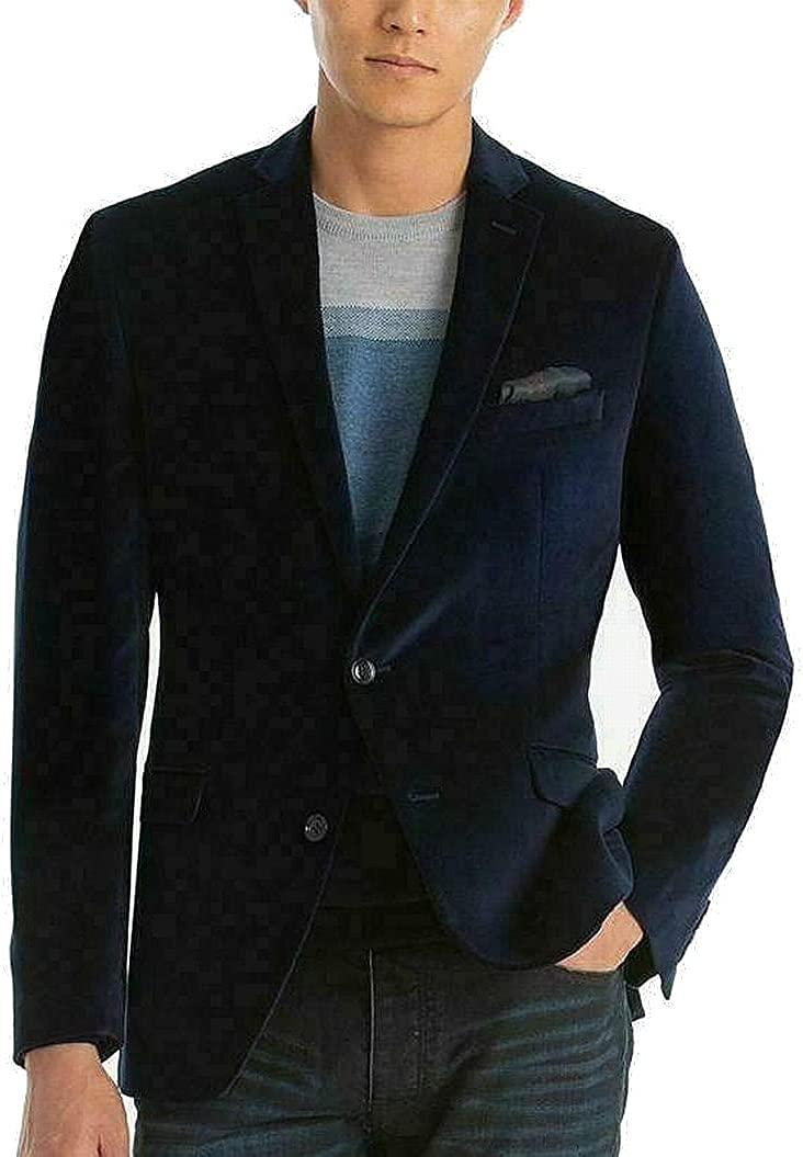 bar III Mens Sports Coat Short Slim Fit Two-Button Blue 42