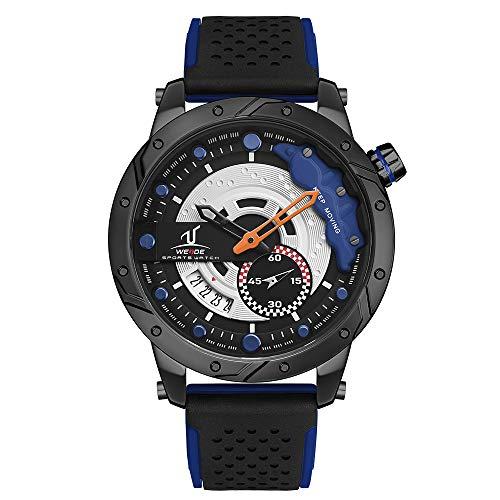 Analoge Armbanduhr, Quarz-Armbanduhr, für Herren, Silikon-Gummibänder, Datumsanzeige, Blau