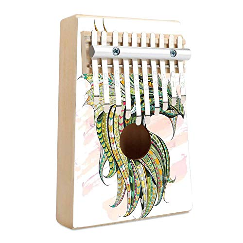 Celtic Decor Kalimba Thumb Piano 10 Keys Head of Legend Dragon with Ornate Effects on Grunge Backdrop Myth Celtic Design Portable Mbira Finger Piano Gifts for Kids and Adults Beginners Multi