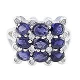 joyas plata piedras preciosas reales forma redonda anillos de iolita facetados de múltiples piedras - anillo de iolita azul de plata 925 - nacimiento de febrero acuario