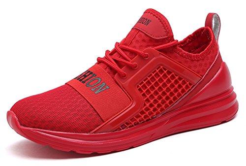 VITIKE Ashion Zapatos de Entrenamiento Para Hombre Malla Respirable Zapatillas Aptitud Talla Extra Ligero Deportes Zapatos Para Correr(EU45-Rojo)
