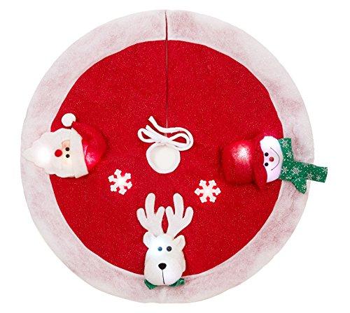 Marry agendo 91,4cm in tessuto non tessuto albero di Natale gonna con luci LED, 3D Santa Snowman cervo fiocchi di neve albero tappetino per festa di Natale decorazione domestica