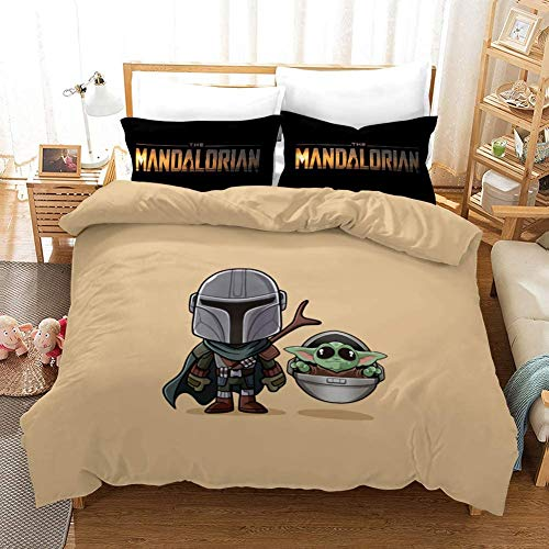 3D Mandalorian Duvet Cover Set Bedding Set Kids Teenagers and Adults Bed Set 100% Polyester 1 Duvet Cover 2 Pillowcases E-US Queen(228×228) cm