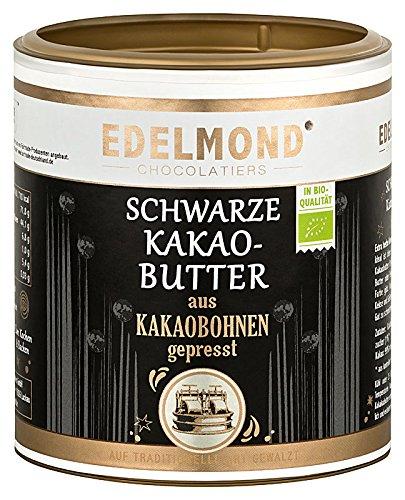 Schwarze Kakaobutter Edelmond Bio, zum Kochen, Backen und Schokolade machen. Vegan dünn-flüssige Kuvertüre voll pflanzlich, ohne Zucker / Low Carb (250 g)