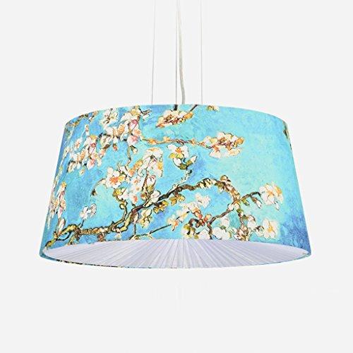 Bleu Impression pendentif pendentif 3 * E14 ronde hauteur réglable suspension légère, tissu abat-jour plomb plissé art design restaurant chambre à coucher plafonnier