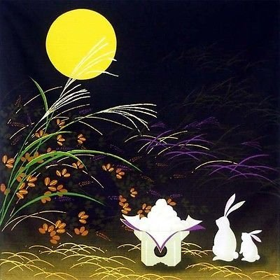 Japanese 100% Cotton 19.75 Otsukimi Moon Rabbit Furoshiki Fabric Wrapping Cloth by Yokohama Gifts