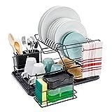 HouseMate - Escurreplatos, Escurridor de Platos de Acero Inoxidable de 2 Niveles con Soporte para Platos con dispensador de jabón y Estropajo Incluido.
