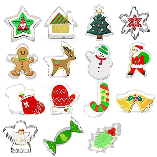Foho Formine per Biscotti Natalizi ,Set di 3D Formine Biscotti Natale ,Albero di Natale, Fiocco di Neve, Renne, Caramella,Pupazzo di Neve, Babbo Natale, Campana per Bambini e altri(15 Pcs)