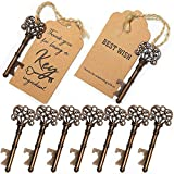 HopingFire 50Pcs Key Bottle Opener Wedding Souvenirs Vintage Beer Opener Keychain with Paperboard Tag Card Party Favors Event Party Supplies Individual Package