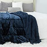 Sherpa Fleece Weighted Blanket 15 pounds for Adult, Kivik Soft Plush Flannel Bed Blanket,Fluffy Cosy Heavy Blanket Warm Thick,Dual Side Navy Blue 60'x80'