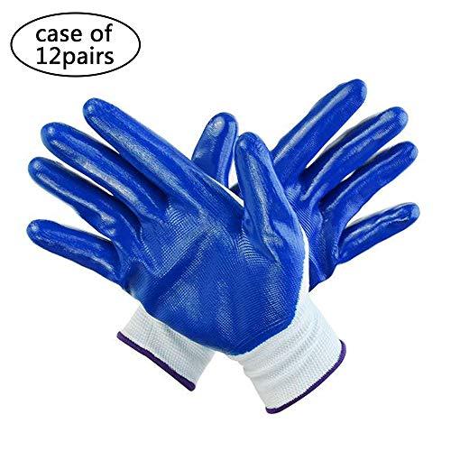 12 Pairs Nylon Safety Work Glove Nitrile Coating