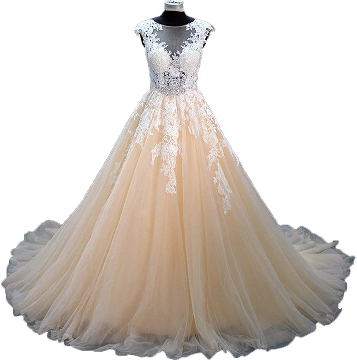 Huifany Wedding Dresses Ball Gown Scoop Neck Cap Sleeves Appliques Bridal Gowns
