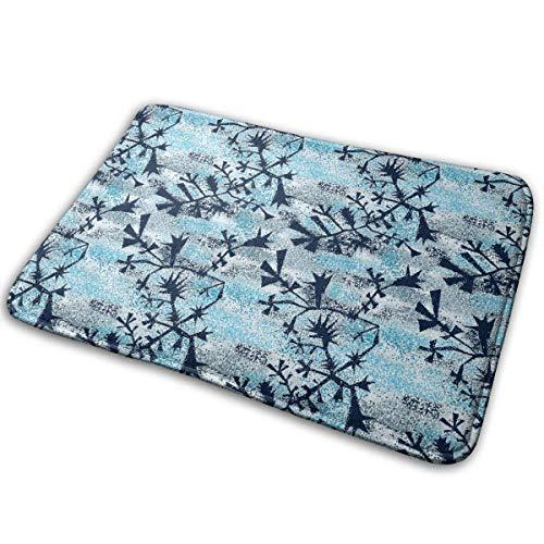 """BLSYP Felpudo Winter Glass Snowflakes Doormat Anti-Slip House Garden Gate Carpet Door Mat Floor Pads 15.8"""" X 23.6"""""""