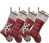 Wuuudi Juego de 4 botas de Papá Noel, bolsa de Navidad, calcetín de Navidad para rellenar y colgar, calcetines de Navidad, chimenea, copos de nieve, color rojo